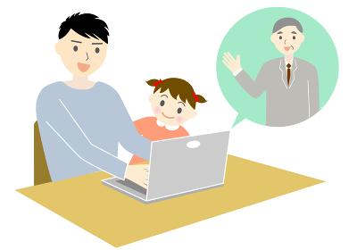 テレワークでweb会議をする男性と子供