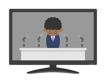 テレビで謝罪会見をする黒人男性のイラスト