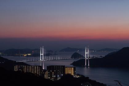 鍋冠山公園展望台からのながさき女神大橋夜景