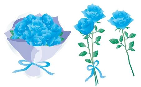 青いバラの花束や1輪と2輪のバラのセット