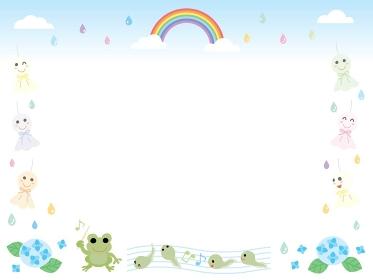 梅雨のてるてる坊主とカエルと虹と紫陽花のフレーム