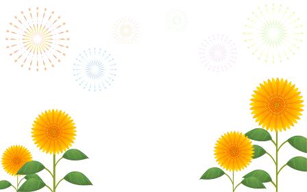 白色(透過)背景の向日葵と打ち上げ花火