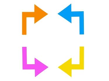 正面から見た向き合うカラフルな矢印
