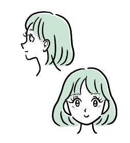 まつ毛パーマの女性の横顔、正面のイラスト