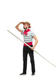 Caucasian man in traditional gondolier costume and hat