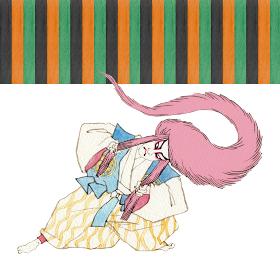 むきみ隈 連獅子 赤 紅 歌舞伎 隈取り 水彩 イラスト