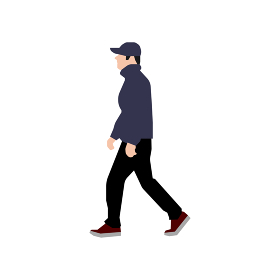 歩いている人物・歩行者 全身(横向き)シルエットイラスト/ 帽子をかぶった若者