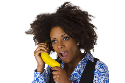 african american with banana
