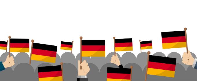手持ち国旗 集団・群衆イラスト ( 愛国心・イベント・お祝い ・デモ) / ドイツ