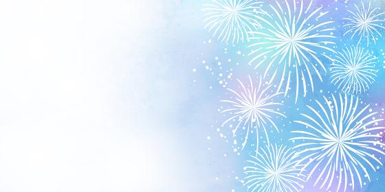淡い水彩風の花火のベクターイラストフレーム背景(白バック、コピースペース)
