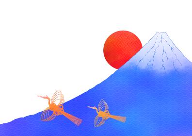 水彩風日の出富士に鶴のイラスト 2