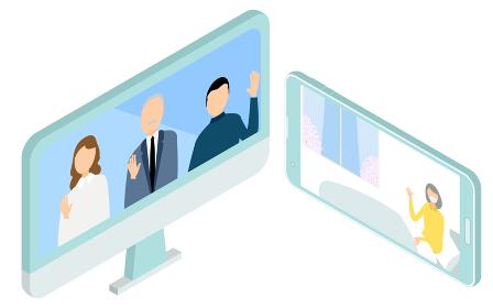 オンライン面会をする入院患者とその家族