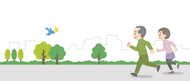 屋外でジョギングをする老夫婦