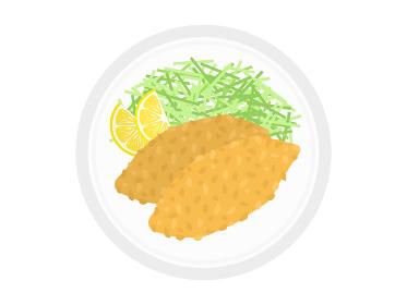皿に盛られた魚のフライのイラスト
