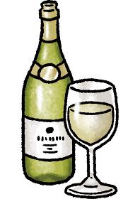 【手描きベクターイラスト素材】白ワインのイラスト