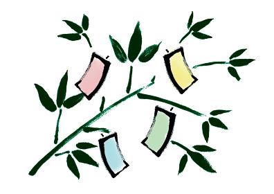 和風手描きイラスト素材 七夕飾り, 7月7日, 七夕祭り