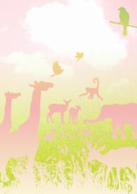 草原と動物