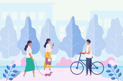都市の公園、歩道で休日を過ごす男女イラスト