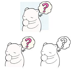 疑問符を浮かべる白くまのイラスト