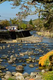 春の長湯温泉の風景(大分県竹田市)