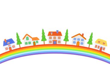 虹と家並み