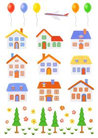 粘土の家と風船と飛行機