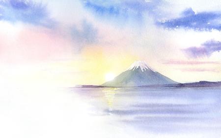 初日の出 富士山 透明水彩