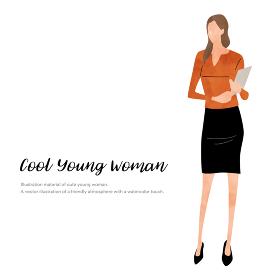 イラスト素材:ビジネスシーン、若い女性