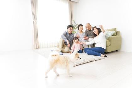 家族全員で写真を撮るファミリー