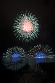諏訪湖の花火大会。長野県諏訪市。