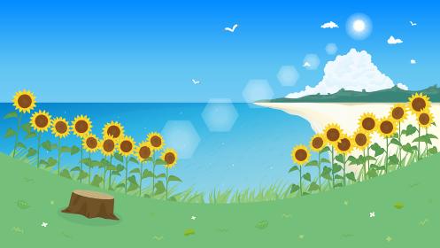 ヒマワリと海の風景イラスト 夏 背景素材