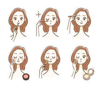 化粧をする女性のバリエーション
