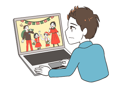 オンラインでクリスマスを見て涙が出る男性