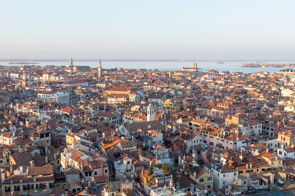 Aerial view of Venice at dawn, Italy