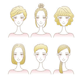 女性の髪型イラストセット ショートヘア ミ