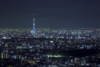 東京都 豊島区 サンシャイン60から望む東京スカイツリーの夜景