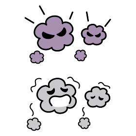 ウィルスや菌の漫画風ベクターイラスト ポップなウィルスの擬人化素材