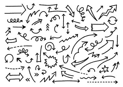 シンプルな白黒の矢印イラストセット