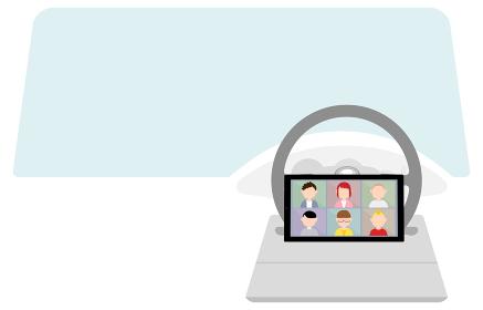 車でテレワークする人のオンラインミーティングのイメージイラスト