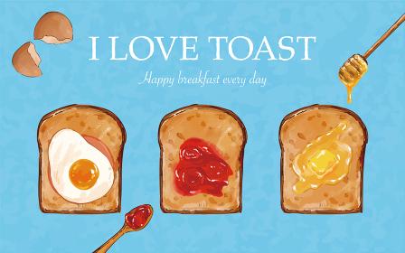 おしゃれなトーストの手描きイラスト