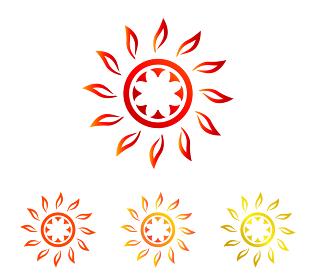 夏の太陽|シンボル セット(褐色、オレンジ、ゴールド)