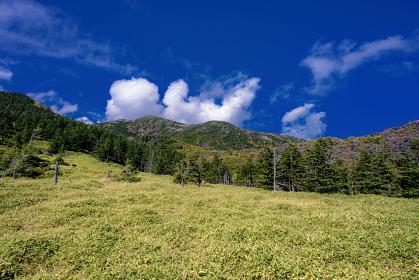 長野県・北横岳 初秋の登山道から眺める風景