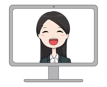 パソコンの画面に映る笑顔のスーツの女性