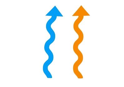 青と赤のクネクネ道の矢印