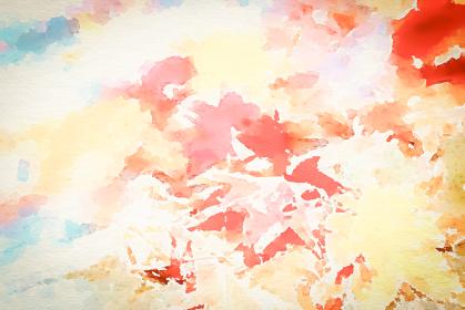 落ち葉の水彩画風 秋の背景