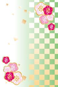 年賀背景 年賀状 市松模様 梅 はがき イラスト素材