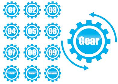 歯車ギアのインフォグラフィックスイラスト アイコン線画|コンセプト工業産業ビジネス