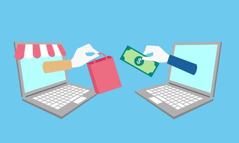パソコンから伸びる手、お金と商品、D2Cのイラストイメージ