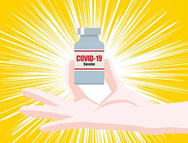 イラスト医師の手の上に輝く新型コロナウィルスのワクチンcovid-19医療放射線集中線