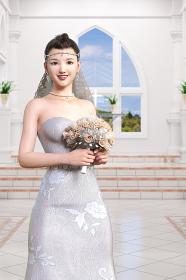 デコルテが綺麗な純白のウエディングドレスを着た花嫁がブーケを持ち結婚式場に立つ